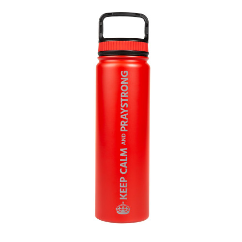 Keep Calm and PrayStrong Red Vacuum Water Bottle