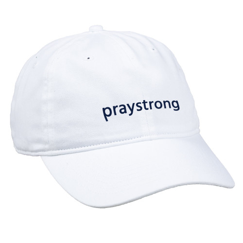praystrong, pray strong, white hat, blue stitching