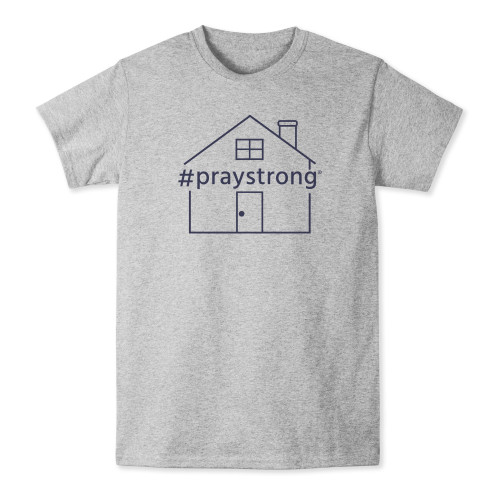 grey, short sleeved shirt, house, praystrong, work from home