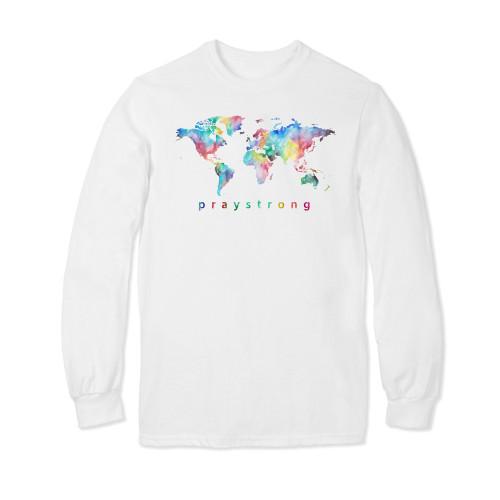 Praystrong world watercolor long-sleeve t-shirt
