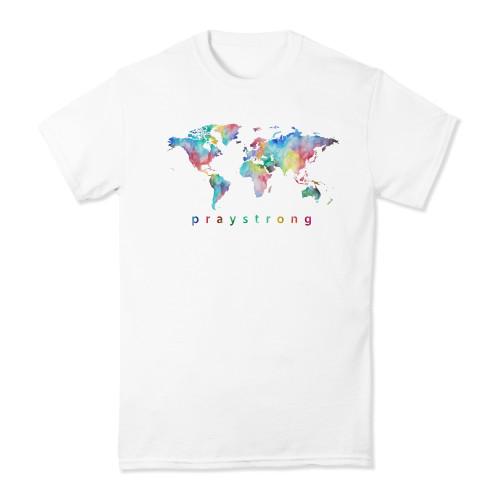 praystrong, pray, strong, watercolor, rainbow, short, sleeve, shirt, t-shirt, world, globe