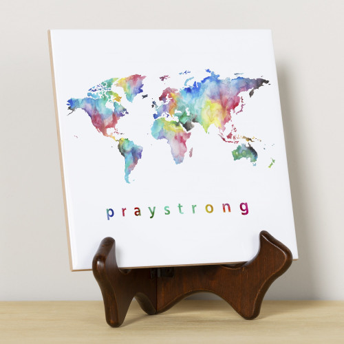 PrayStrong World watercolor and white tile on easel