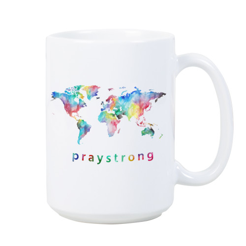 praystrong, watercolor, white, mug, design