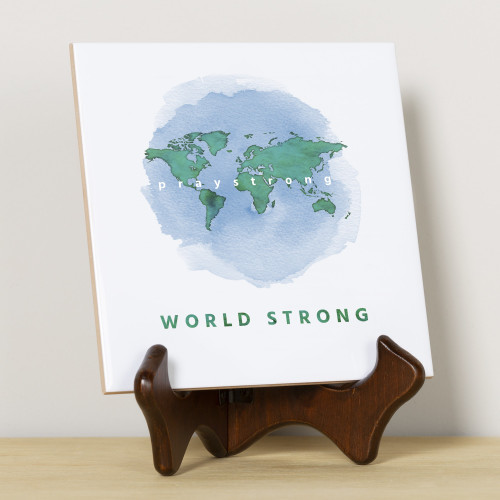 PrayStrong World WaterColor Tile