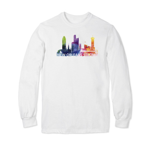 New Orleans Strong Watercolor Long Sleeve T-shirt