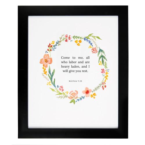 Matthew 11:28 Floral Framed Scripture Print