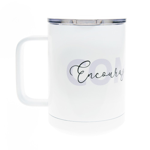 PrayStrong Comfort White Travel Mug