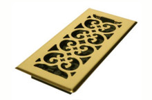 "Decor Grates 4"" x 10"" Brass Floor Register"