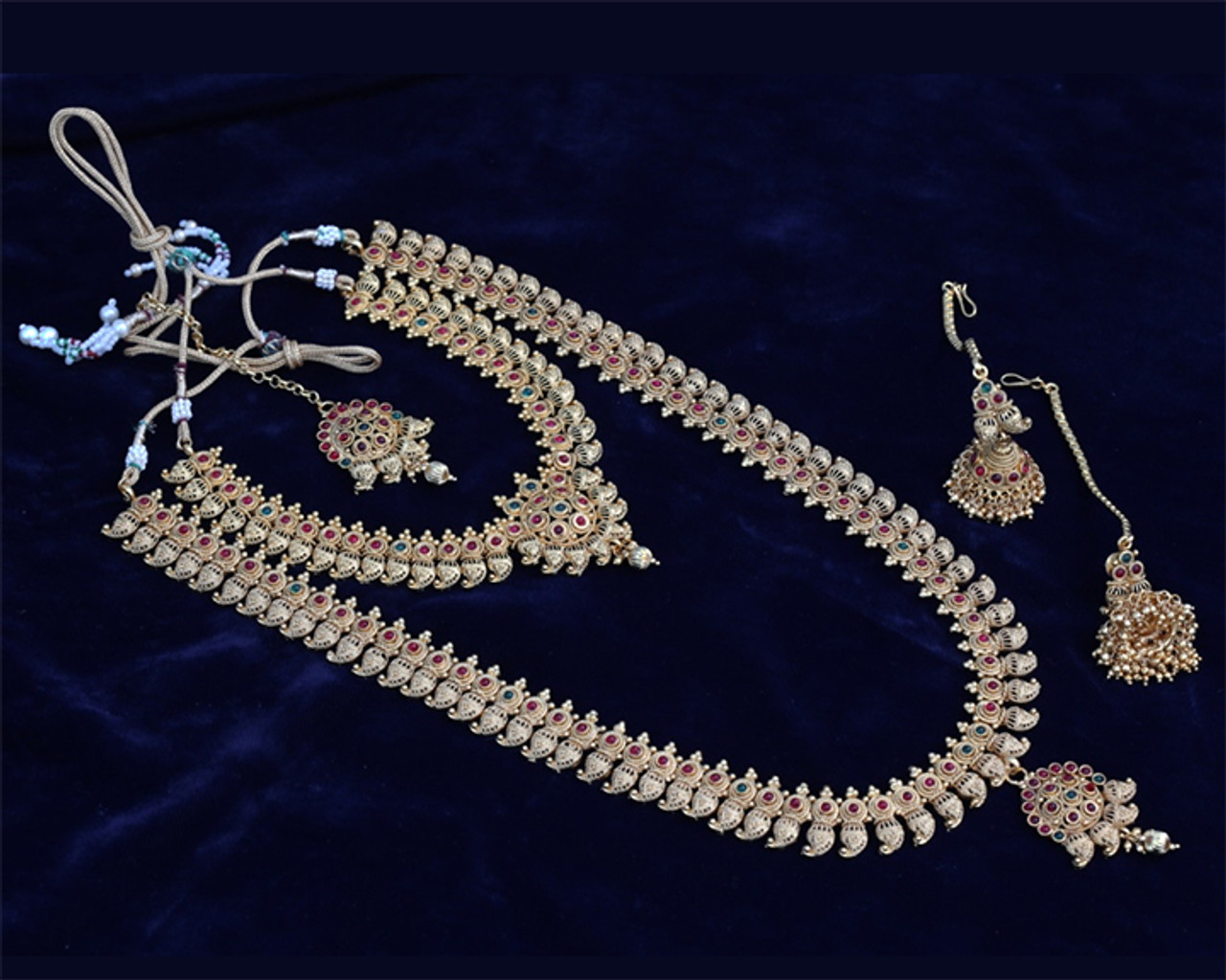 South Indian Temple Jewelry Gold Beautiful Long Necklace Set 2