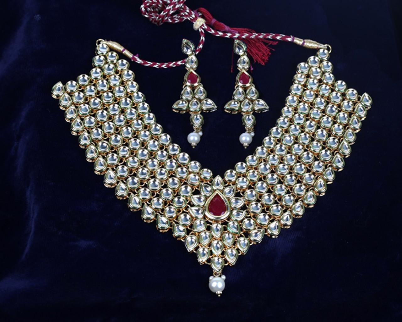 996f5031ca5fa Meena Kundan Gold Plated Designer Handmade Necklace Set Earrings