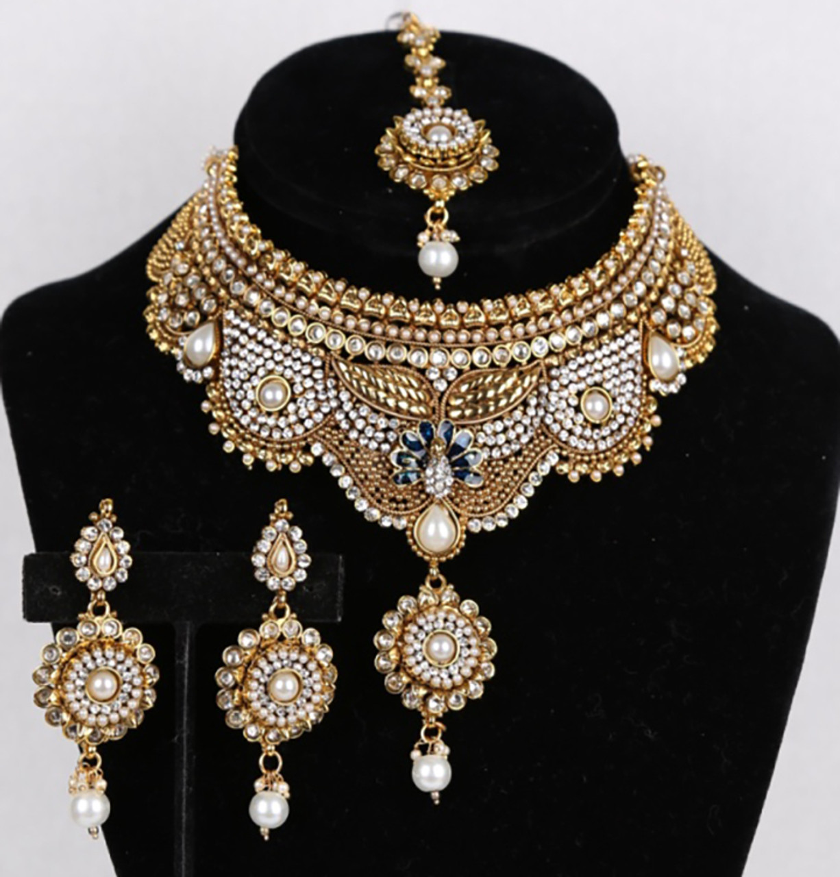 b0e02f783 Indian Bridal CZ AD Necklace Gold Silver Tone Bollywood Style ...