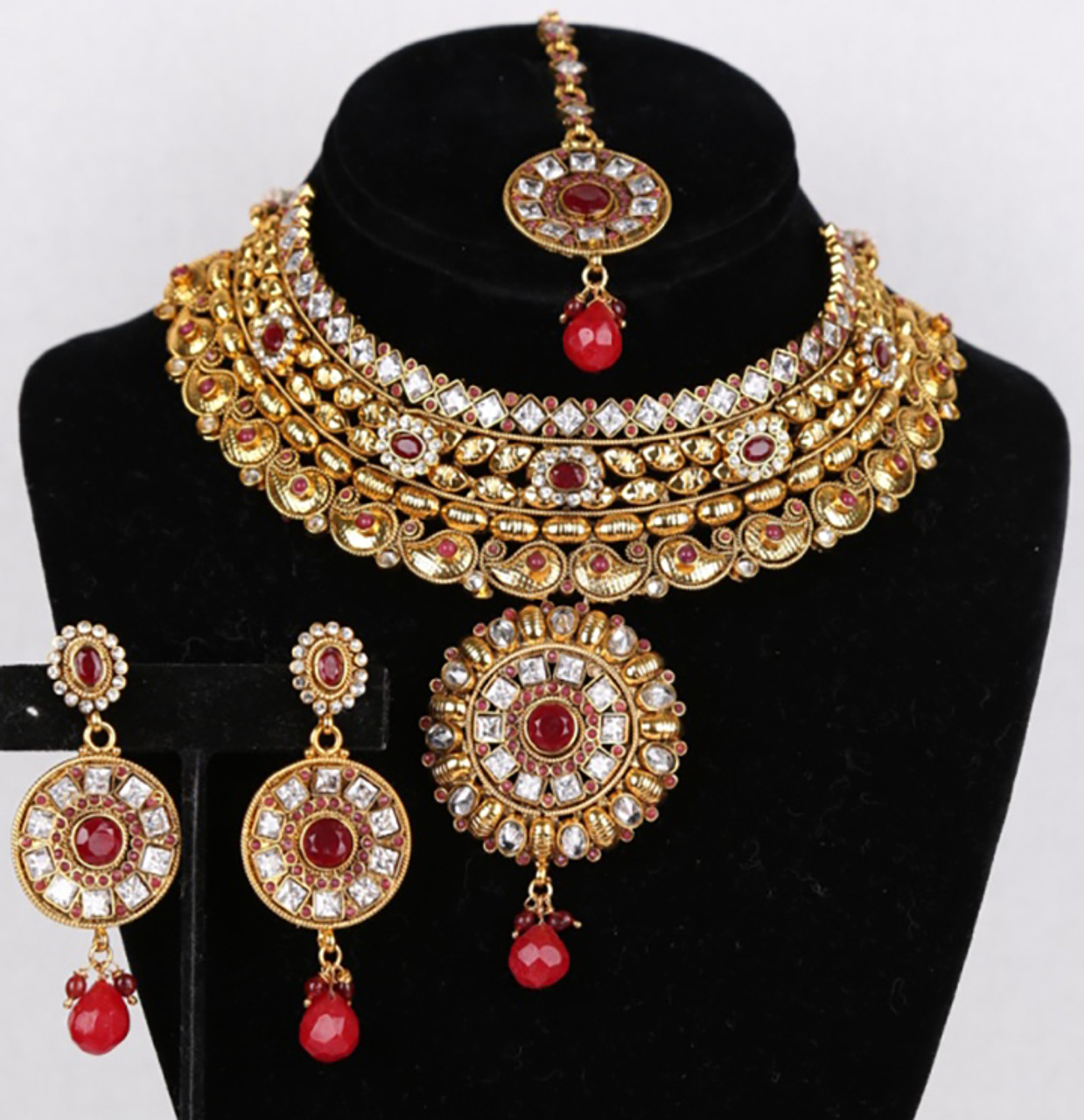 Indian Bollywood Style Fashion Wedding Silver Tone Necklace Earrings Jewelry Set