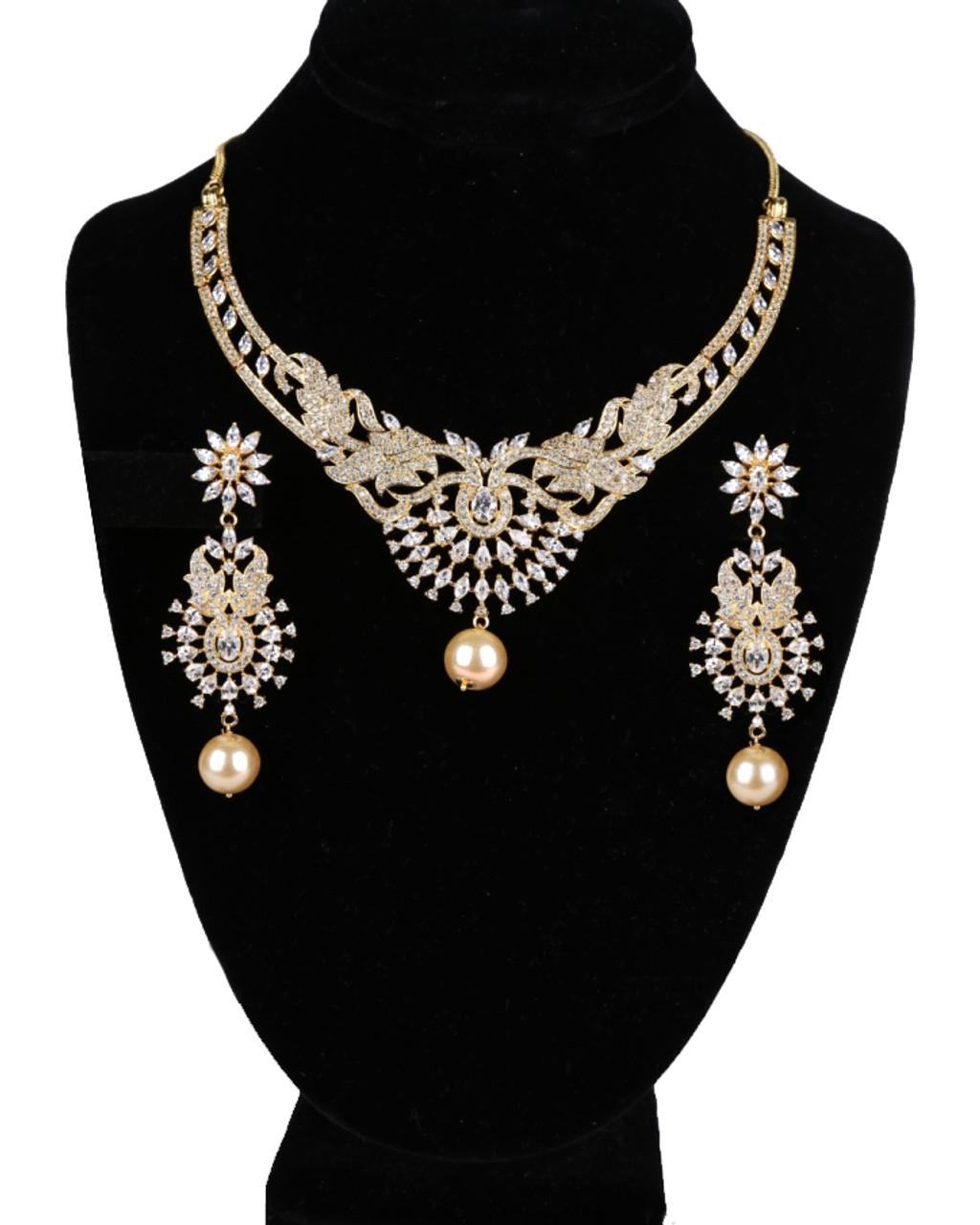 Heavy Designer Amazing Gold Plated American Diamond Cz Bridal Necklace Set With White Rhinestones