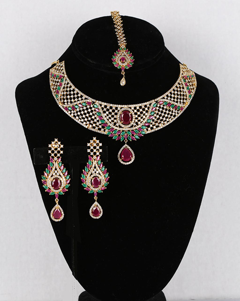 Imitation jewelry CZ ruby and emerald necklace set Indian bridal jewelry Artificial jewelry