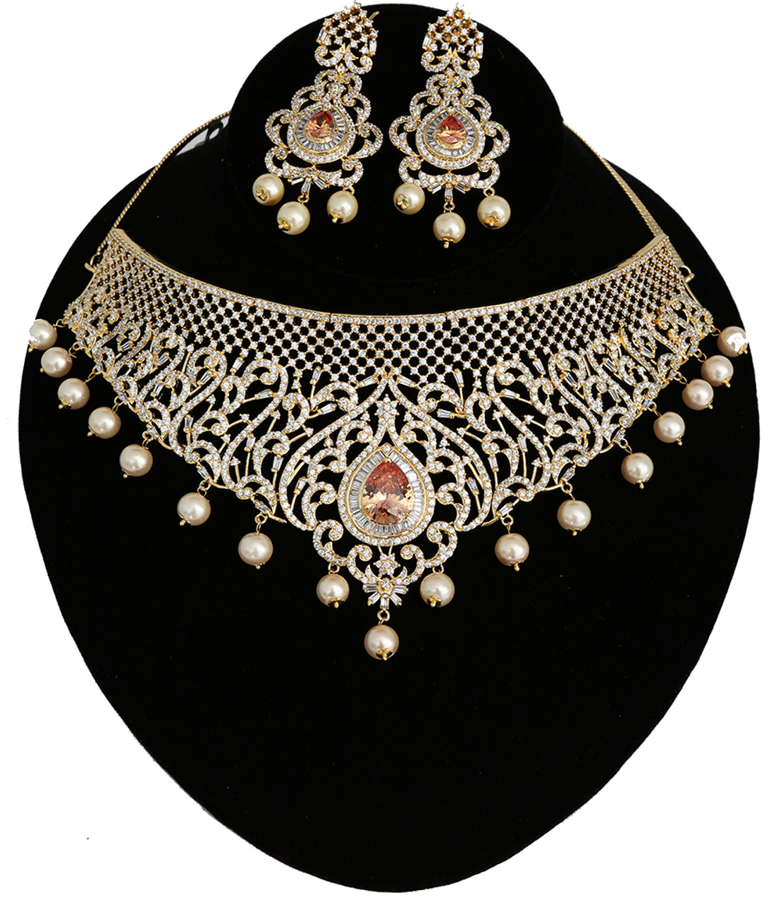 Bollywood gold Plated adjustable Pearl kundan necklace jhumka earrings set bridal wedding Jewelry traditional party wear Jewellery