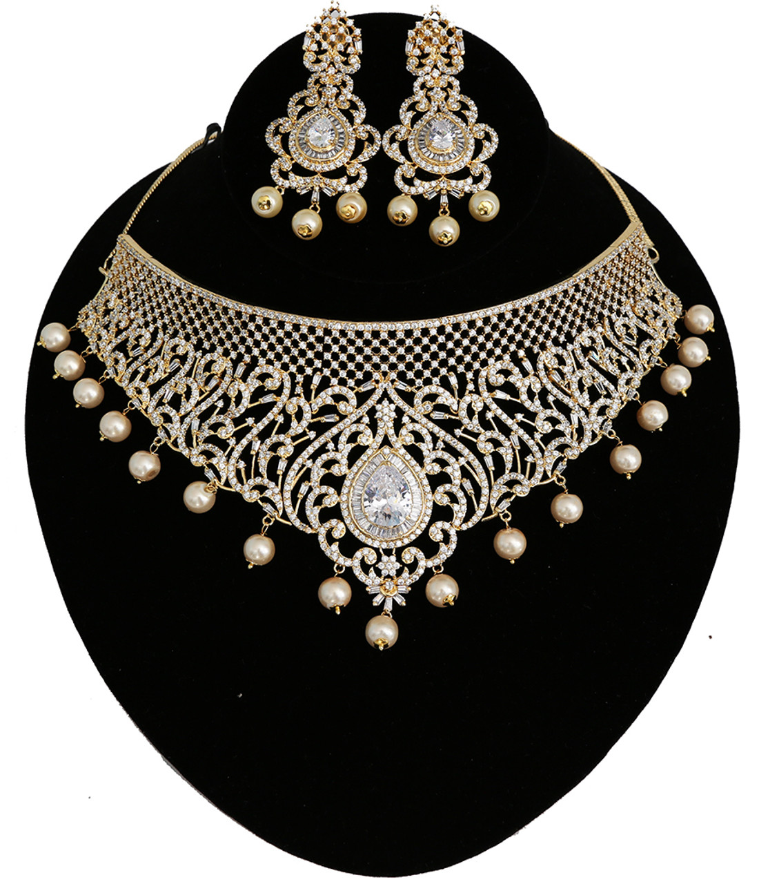 Indian Bollywood Style CZ AD Wedding Silver Fashion Pearl Jewelry Necklace Set