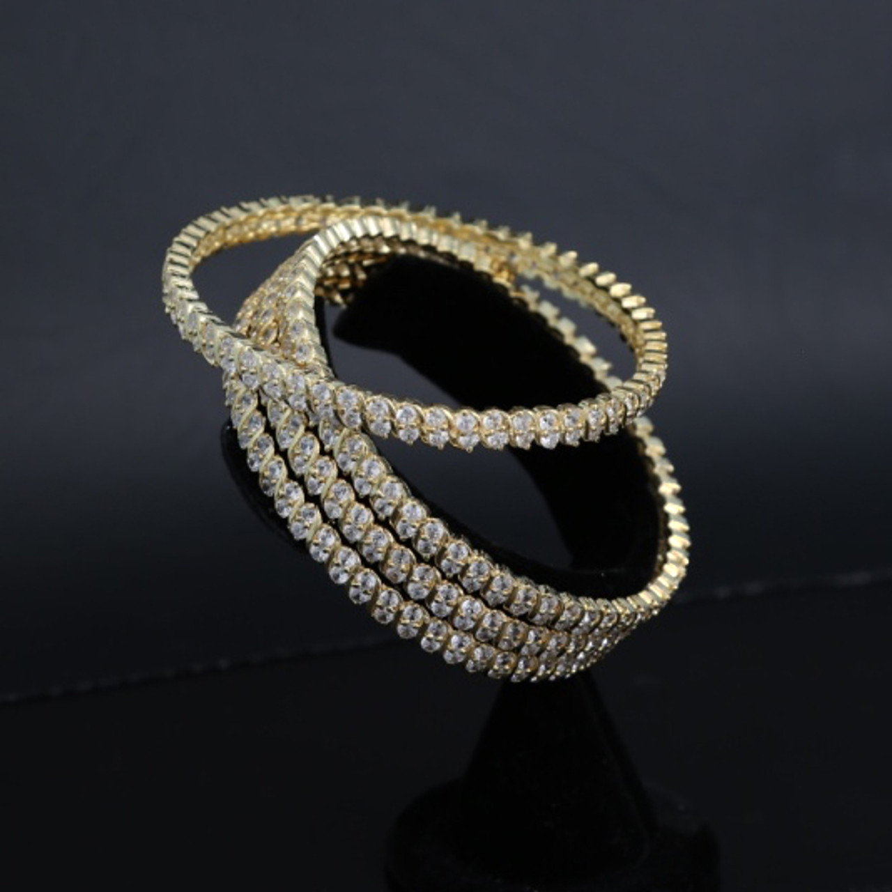 Gold Plated AD CZ Bridal Ethnic Indian Bangles Set Of 4