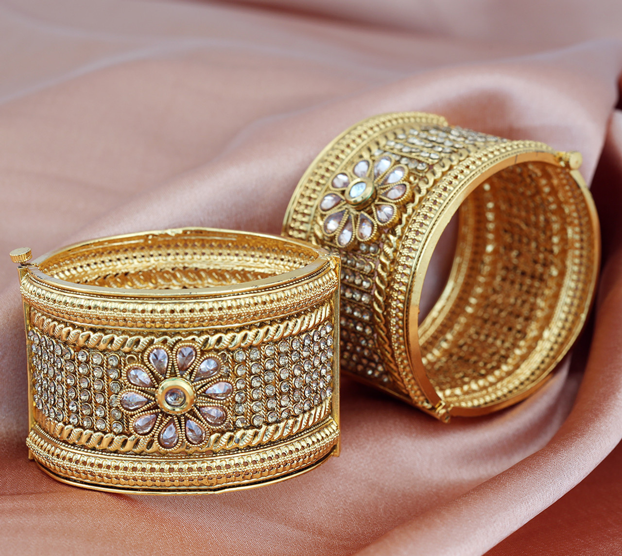 Indian Bollywood Designer Gold Plated Bridal Pearls Fashion Jewelry Bangles/ Kada - Indian Designs