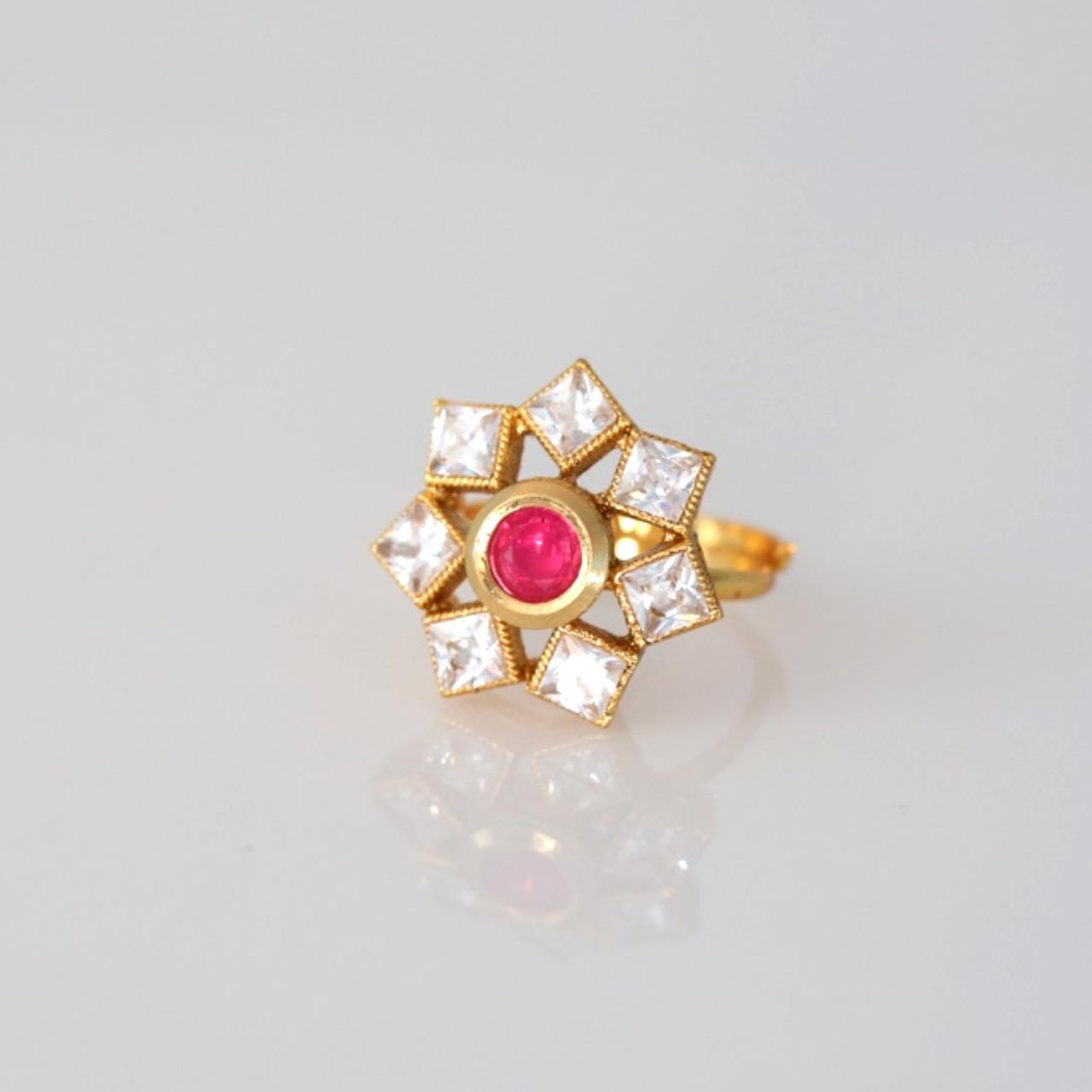 Gold Plated AD// Polki Wedding New Adjustable Finger Ring Indian Handmade Women