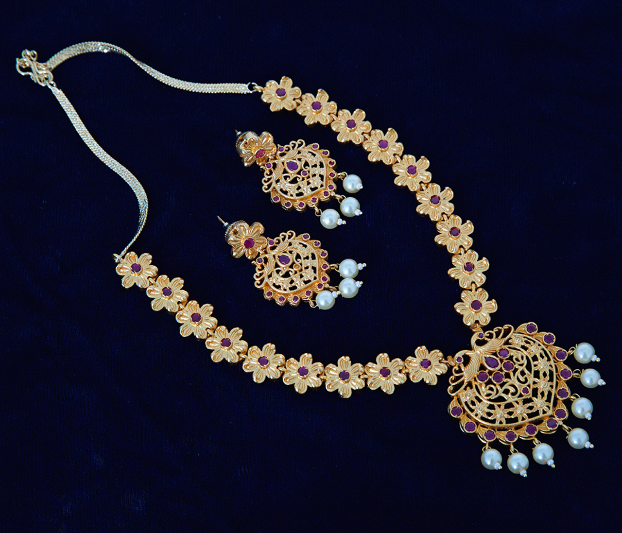 1 Gram Gold Jewelry With Floral Design Indian Designs