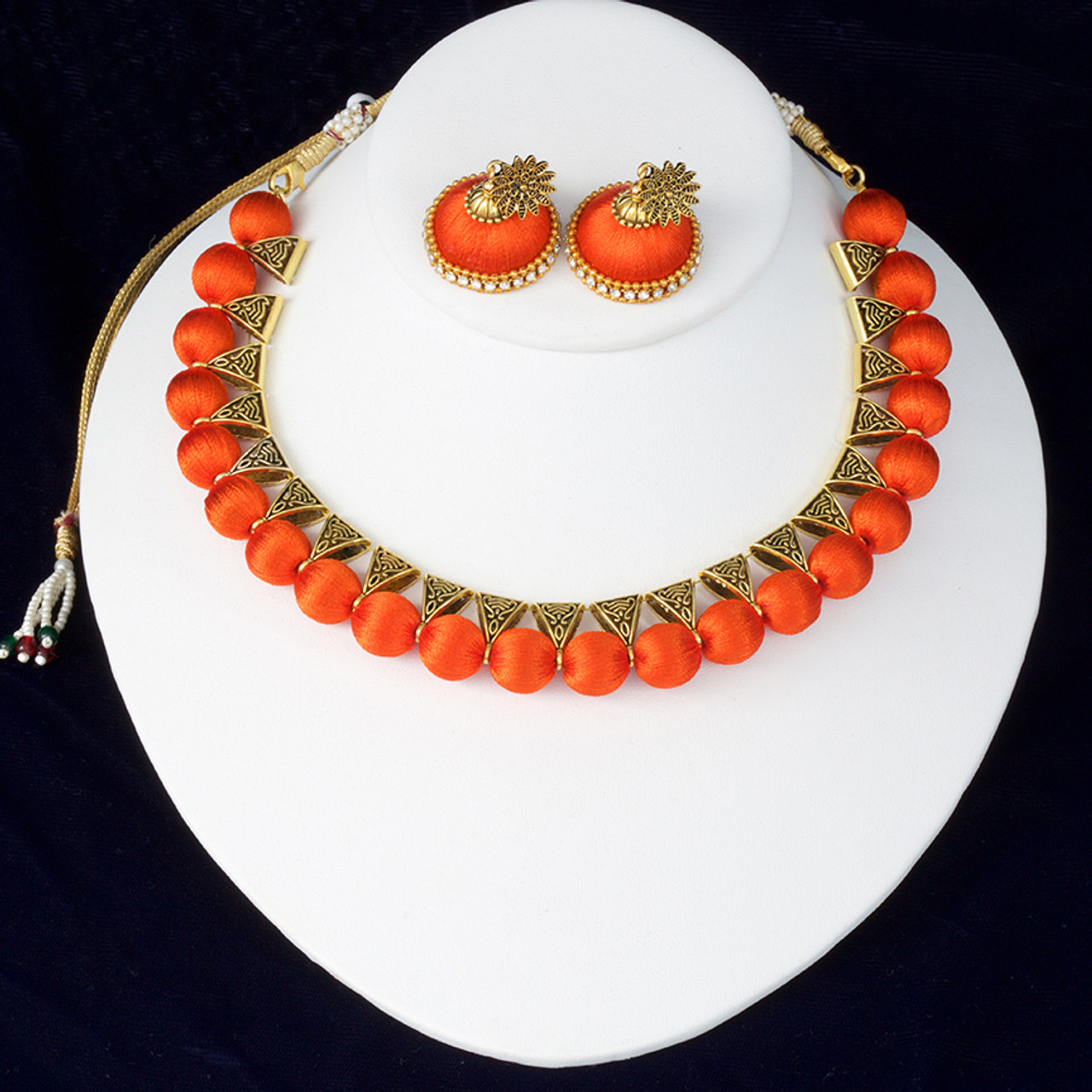 2cda9d1c3ec46 Indian Silk Thread Jewelry Set Antique Choker Necklace and Matching Jhumka  Earrings Combo in Orange Color