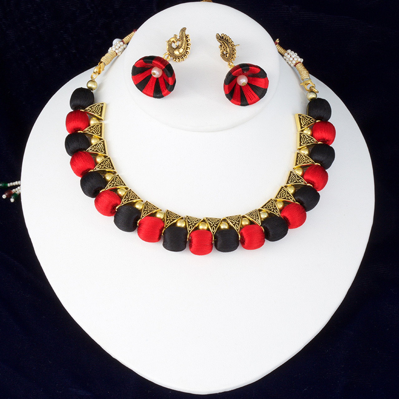 1b7d1061f0a38 Indian Silk Thread Jewelry Set Antique Choker Necklace and Matching Jhumka  Earrings Combo in Red and Black Color