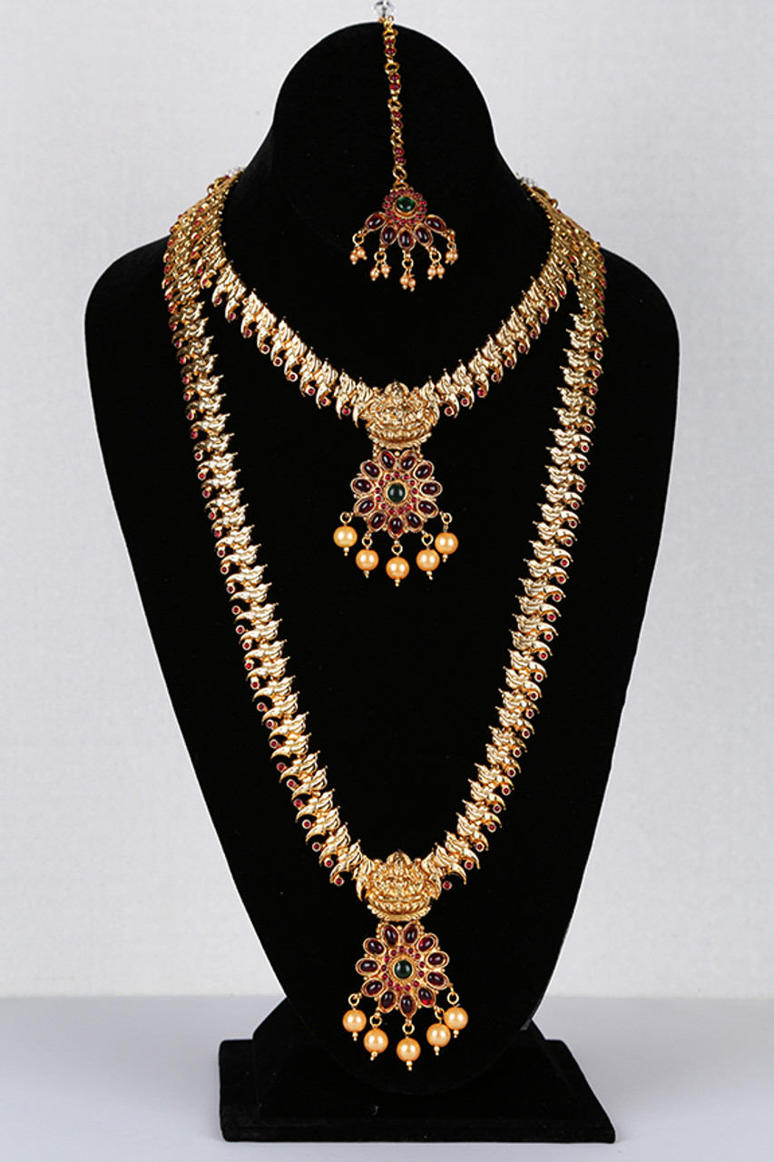 Traditional Beads Design Gold Plated South Indian Haram Long