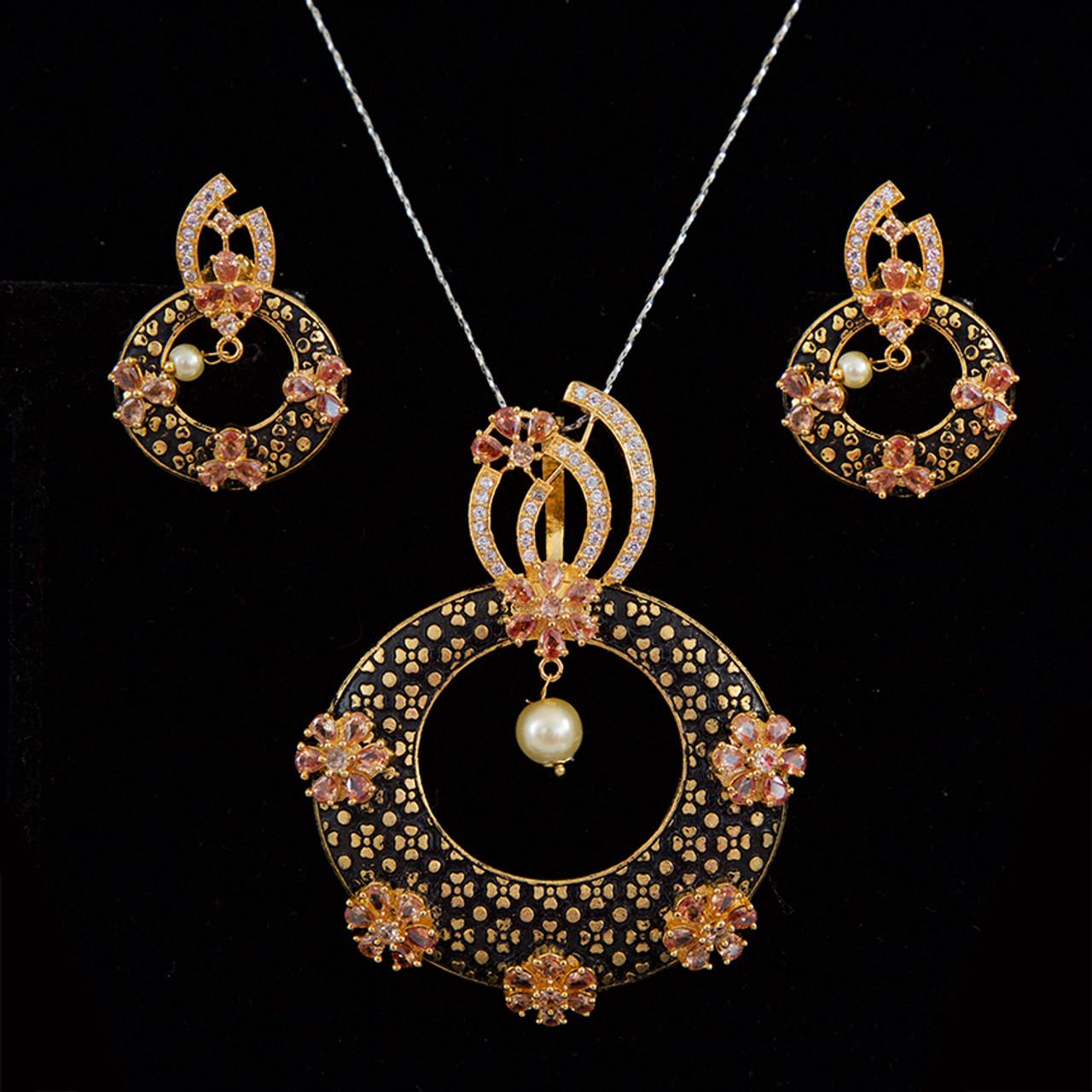 Antique Meenakari Pearl Pendant Earrings Set Fashion Jewellery