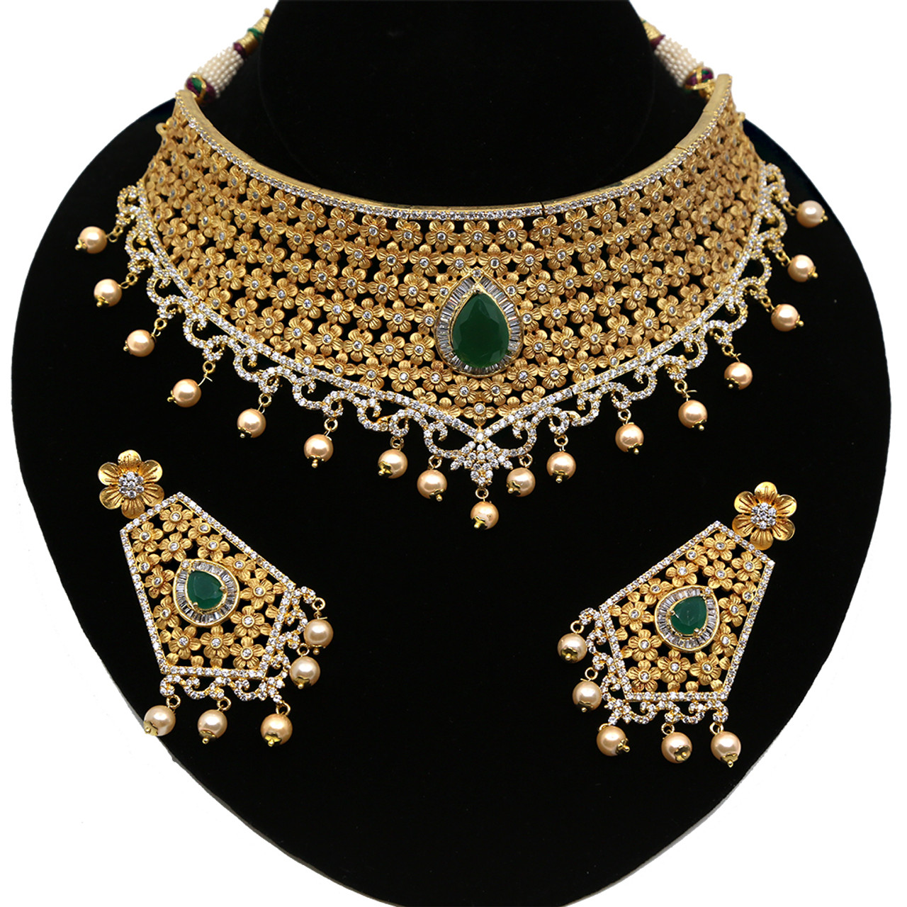 Indian Bollywood Ad Pearl Antique Wedding Bridal Fashion Jewelry Set