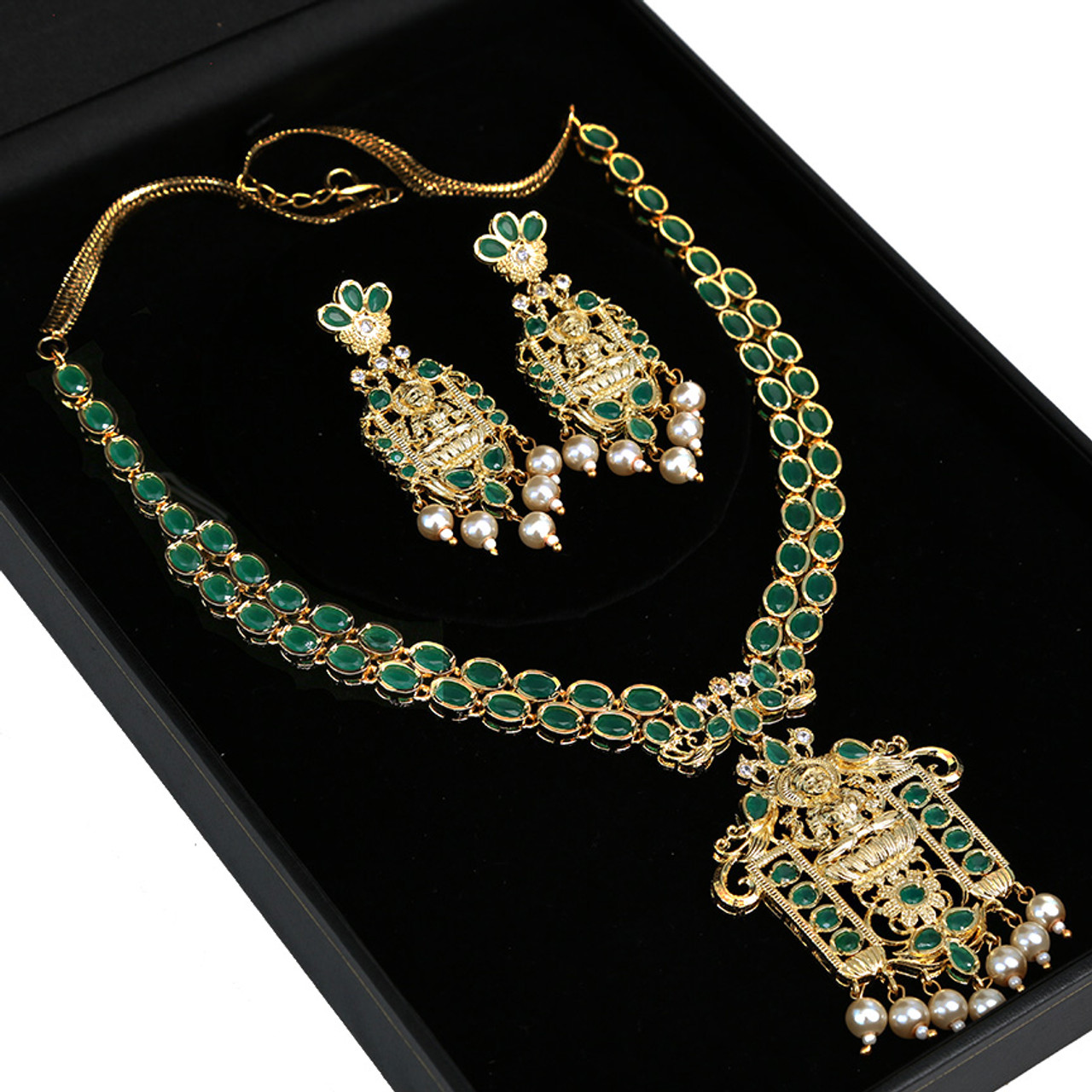 643616025dc Long Gold plated Kundan necklace set with green stones