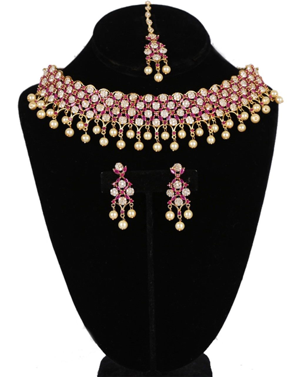 American Diamond Necklace Set Synthetic Ruby Clear Stones And Faux Pearls With Matching Tikka Bridal Jewelry