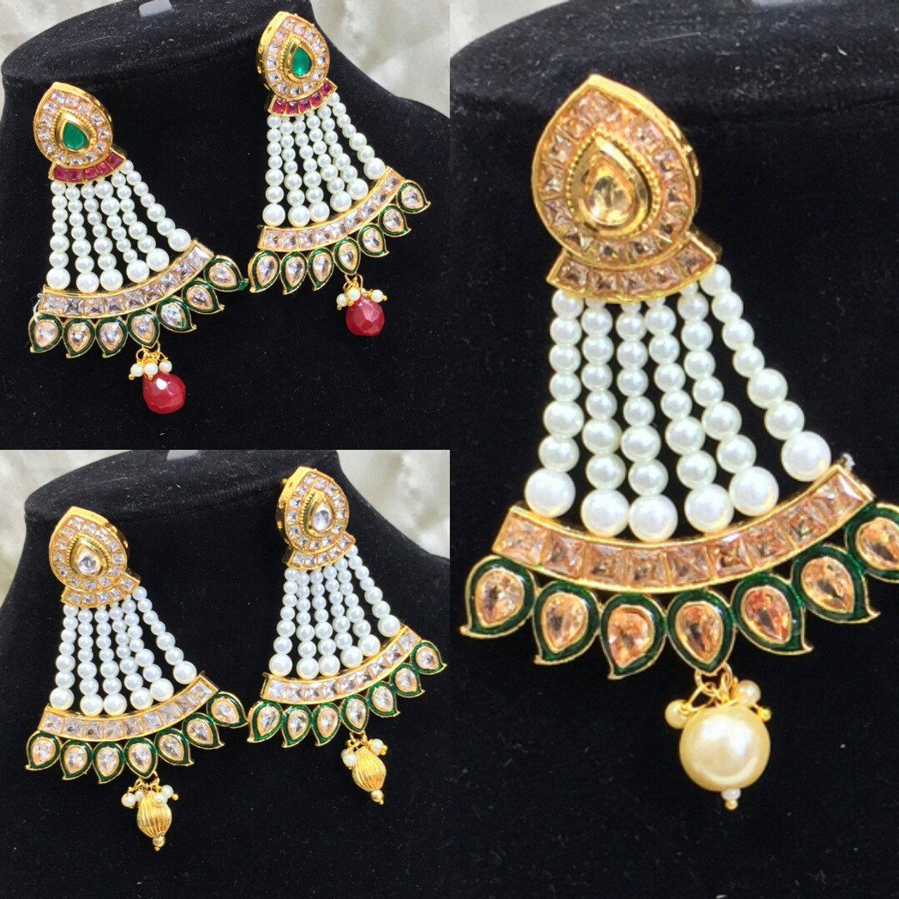 Indian Bollywood Imitation Jewellery Earrings Kundan Stone Polki
