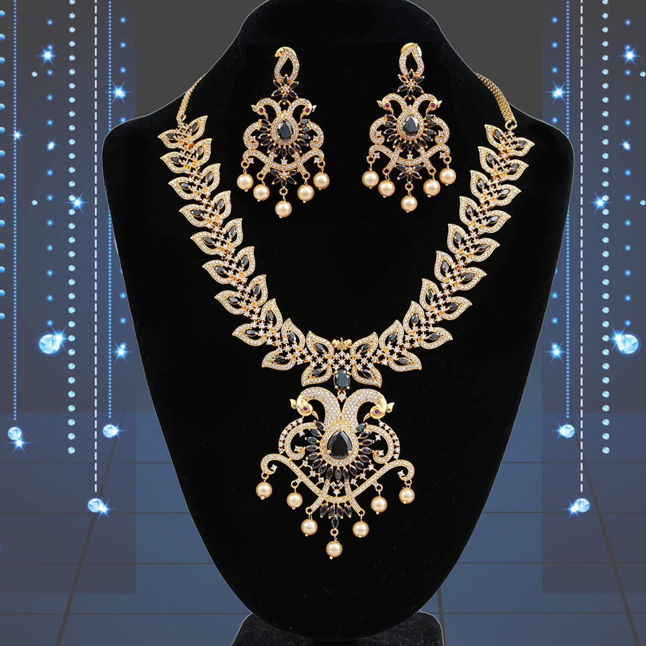 Black Stone Studded Floral Haram Necklace Earrings Latest Indian