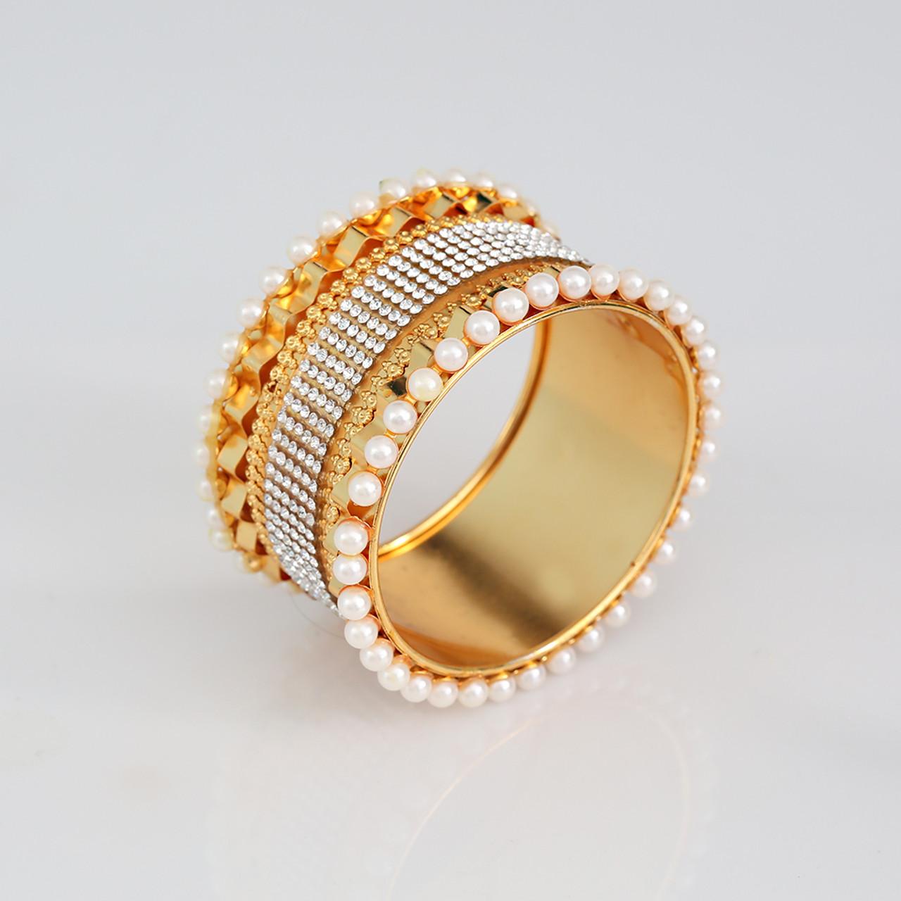 18b0edb1e3a Cubic Zirconia Stone Studded Pearls Kada Bangle Bracelet Party Wear Jewelry