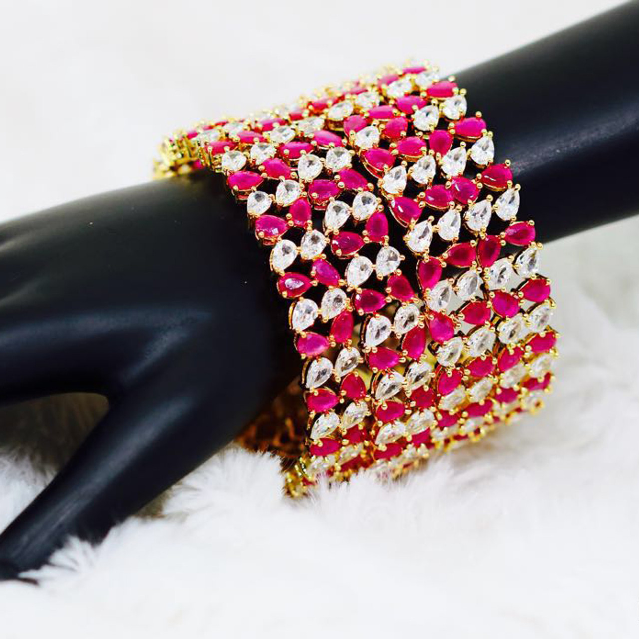 53bc0690522 Indian Ethnic 22K Gold Pear Cut White and Pink Zircon Bangles Gifts ...