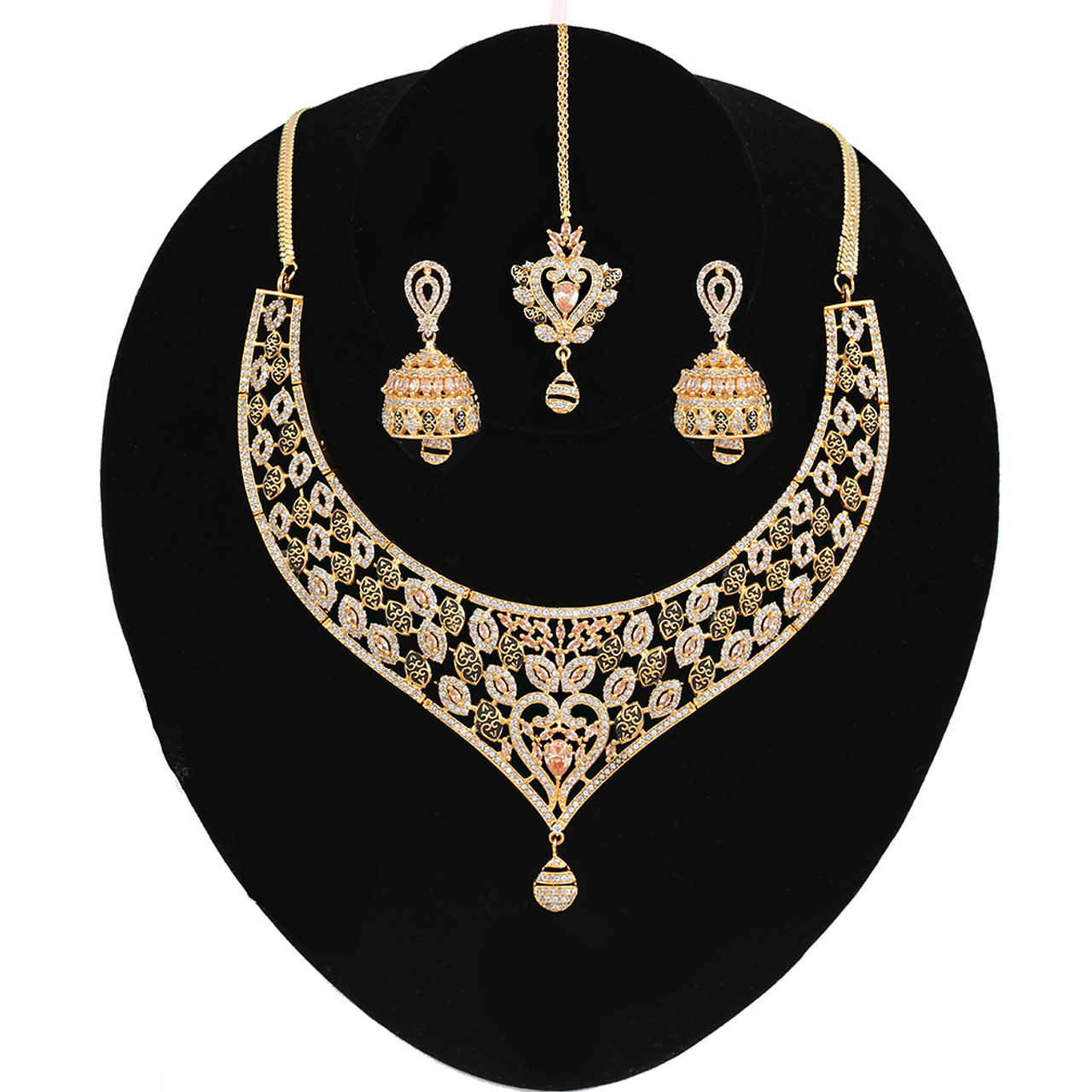 f9be12b97 Topaz and Clear Crystal CZ Heavy Gold plated Light Weight Necklace Jhumka  Earrings