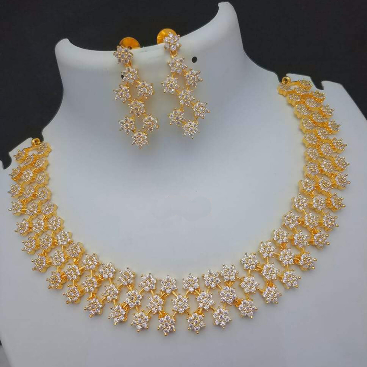 Triple Rows Star Design White Stone Bridal Necklace Gold Plated