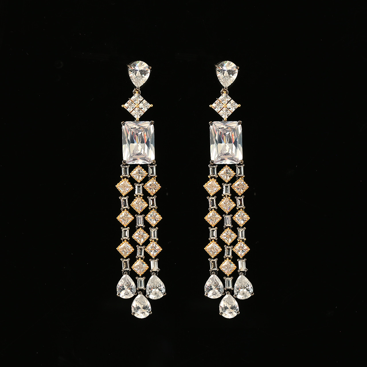 e24ba6d2c5c American Diamond CZ Fashion Jewelry Gold and Rhodium Plated White Stone  Earring