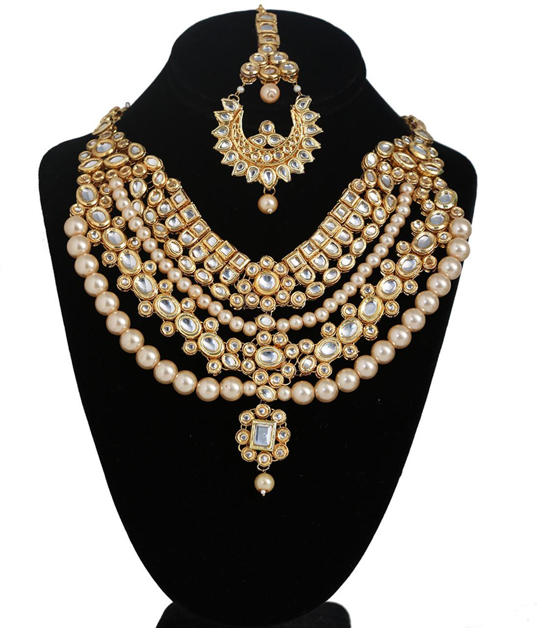Royal Meena Kundan Pearls Designer Jewelry Necklace With