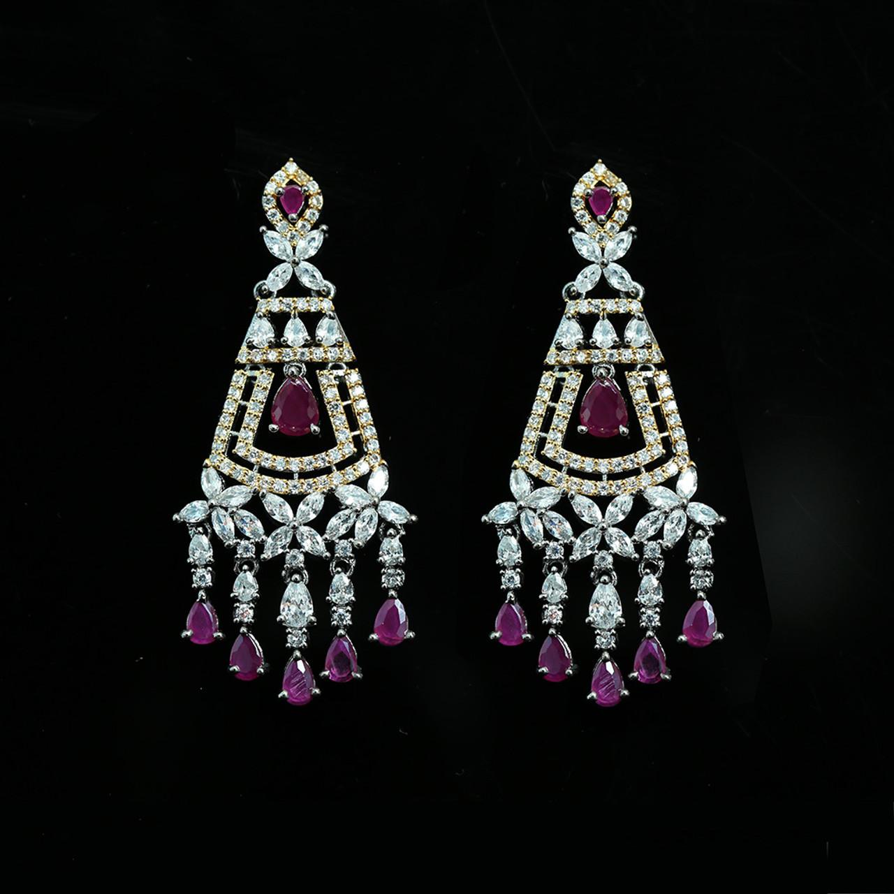 Indian Ethnic Antique Gold Plated Ruby Pink Zirconia Long Dangle Earrings Wedding Gift