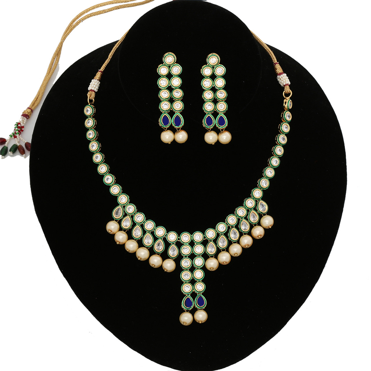 28b37ca6ee5af Blue and White Kundan Stone Pearl Beads Necklace Earrings Fashion Handmade  Set