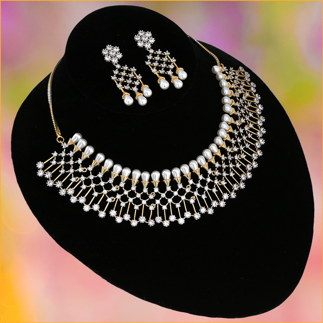 Aheli Antique Finish Faux Stone Studded Necklace Earrings Set Indian Wedding Bollywood Fashion Jewelry for Women