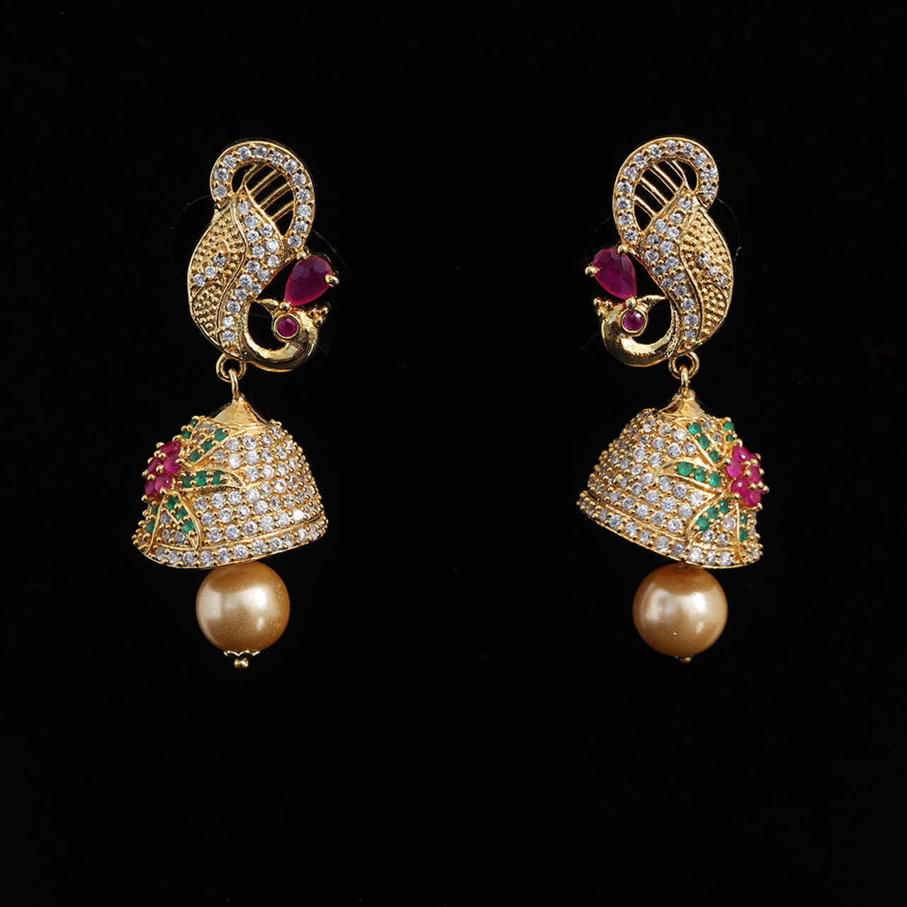 22k Gold Plated Jhumka Jumki Peacock Drop Earrings Ethnic Bridal