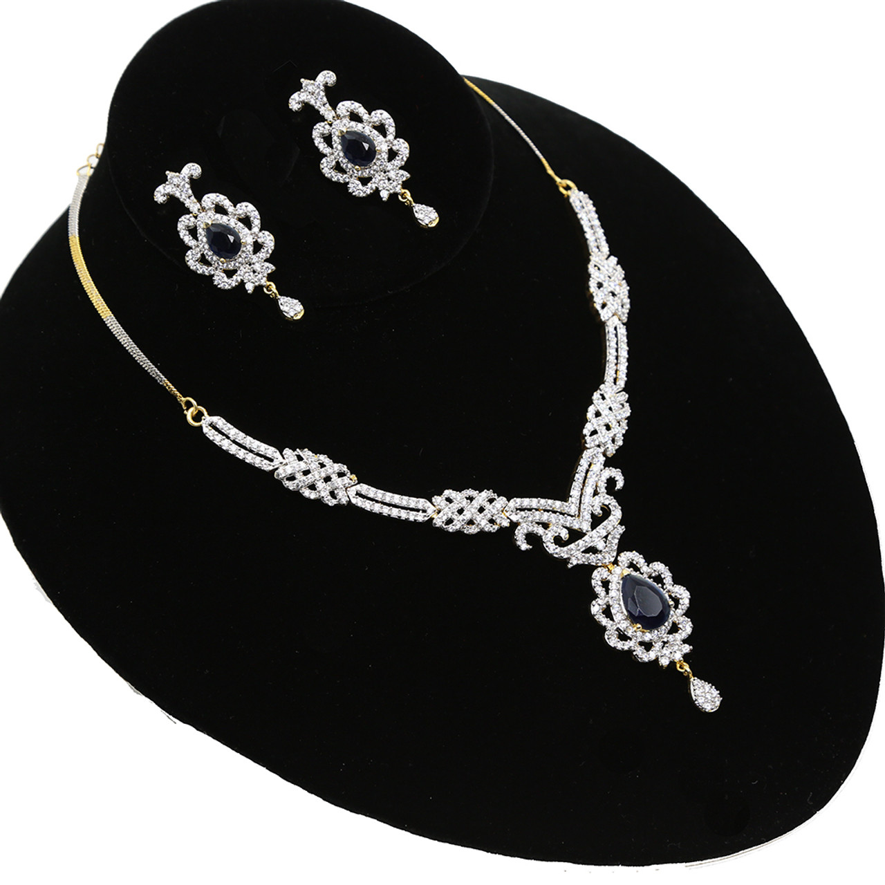 4feaaa8c9 Authentic Necklace Set with Simulated American Diamond Sapphire ...