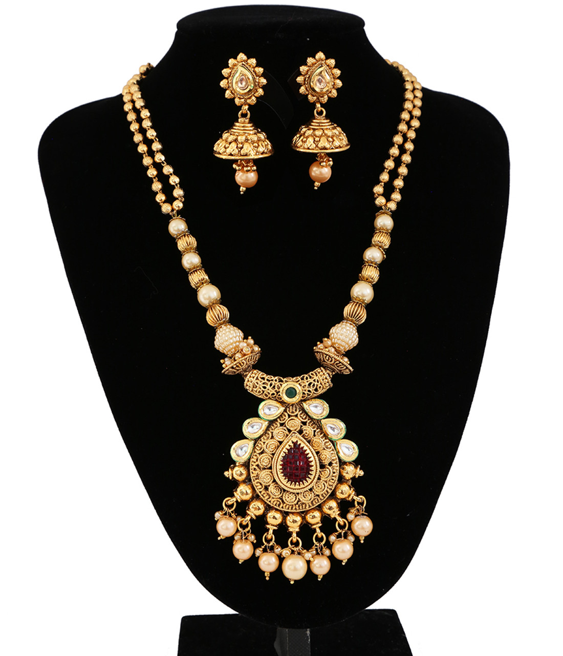 New Indian Antique Look Gold Plated Pearl Multicolor Stone