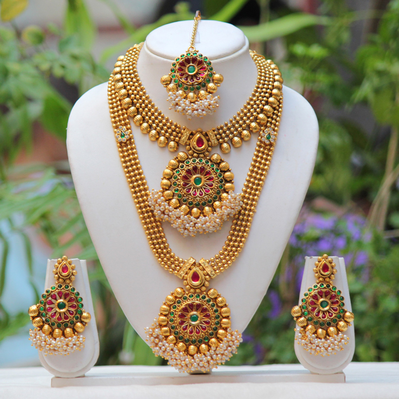 Gifts For Her South Indian Long Necklace Gold Plated Temple