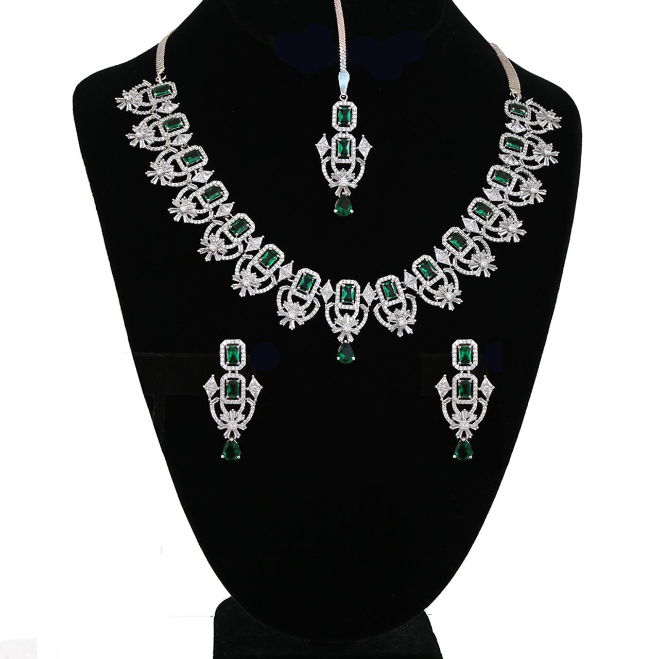 Bridal Designer Luxury Flower Rhodium Plated Simulated Emerald Cz Diamond Necklace