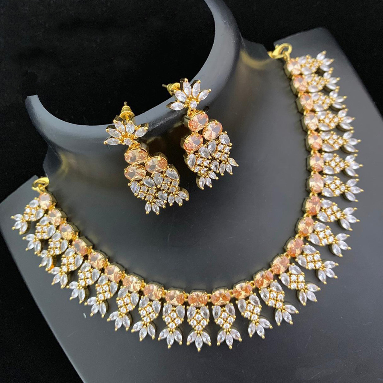 Handmade Gold Plated American Diamond Choker Necklace With Topaz Stones Indian Designs