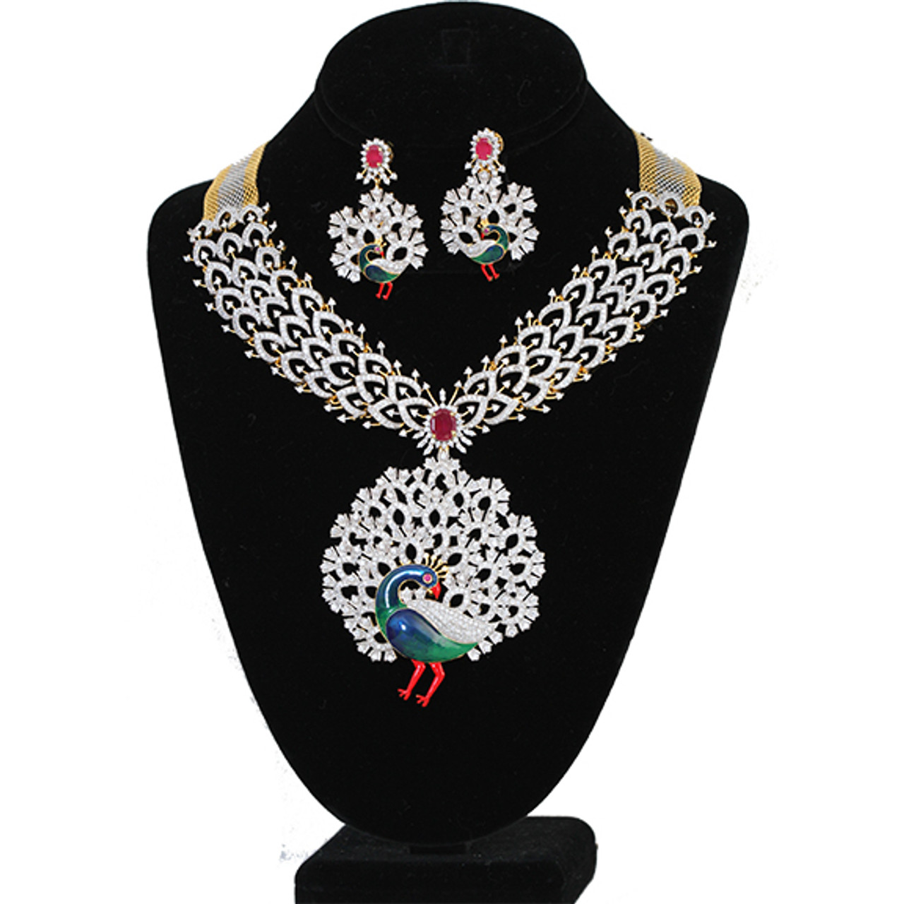 Indian Bridal Jewellery American Diamond High Quality Necklace Set