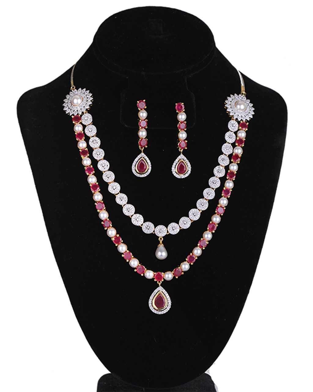e843693a3 Ethnic fashion Jewelry Simulated Ruby CZ AD Necklace Set Gold ...